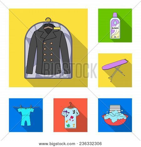 Dry Cleaning Equipment Flat Icons In Set Collection For Design. Washing And Ironing Clothes Vector S