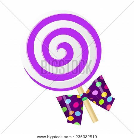 Fun Cute Cartoon Purple Lollipop With Bow. Vector Illustration On White Background