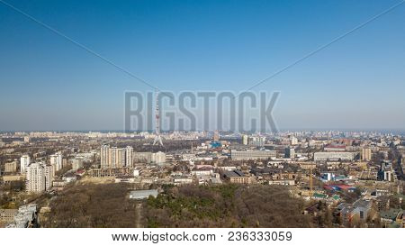 Panoramic view of the city of Kiev with Dorogozhychi distric with a TV tower, Ukraine, aerial view