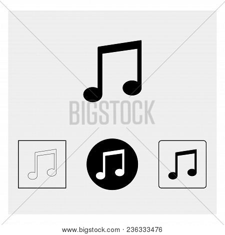 Treble Clef. Music Notes On Gray Background. Vector Illustration
