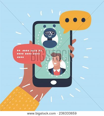 Vector Cartoon Illustration Of Chatbot Concept. Man Chatting With Chat Bot On Smartphone. Human Hand