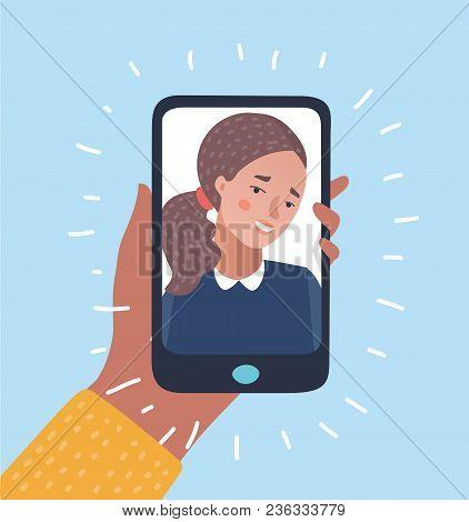 Vector Cartoon Illustration Of Young Beautiful Smiling Girl On Display Smartphone. Human Hand Holdin