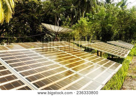 Large Solar Panels In The Rainforest. Alternative Solar Energy. Solar Powered Satellite Dish. Photov