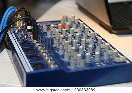 Dj Mixer Close Up While He Is Mixing. Concept About Party, Music, Fun And People. Hand On A Sound Mi