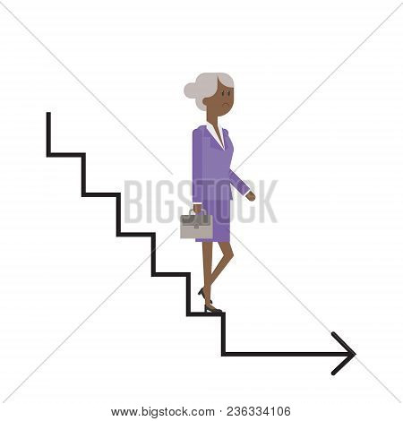 Career Ladder, The Elderly Lady Descends The Stairs, Businesswoman, The Completion Of Her Career. Ve
