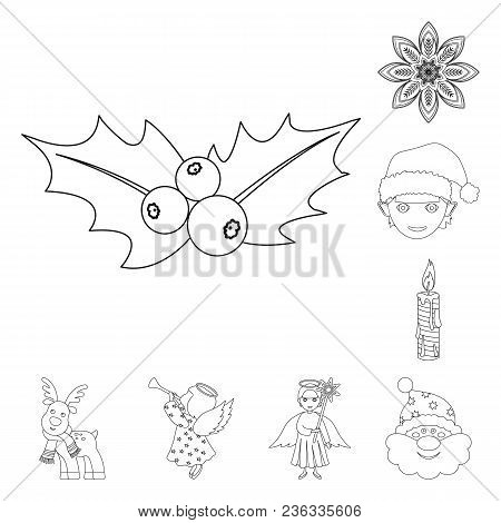 Christmas Attributes And Accessories Outline Icons In Set Collection For Design. Merry Christmas Vec