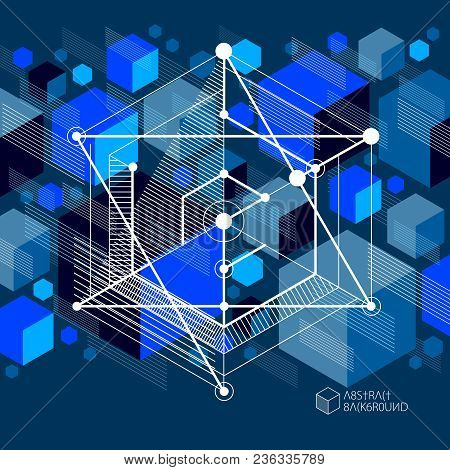 Vector Of Abstract Geometric 3d Cube Pattern And Dark Blue Background. Layout Of Cubes, Hexagons, Sq