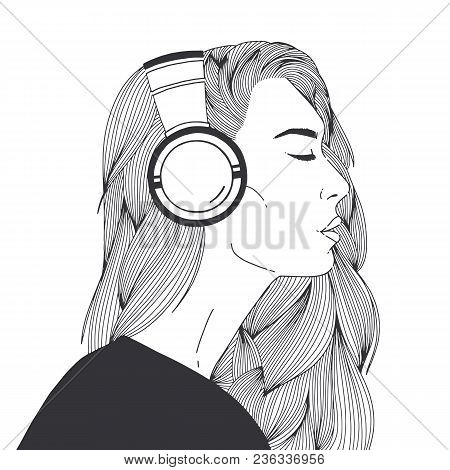 Portrait Of Beautiful Long-haired Young Woman Wearing Headphones Drawn With Black Contour Lines On W
