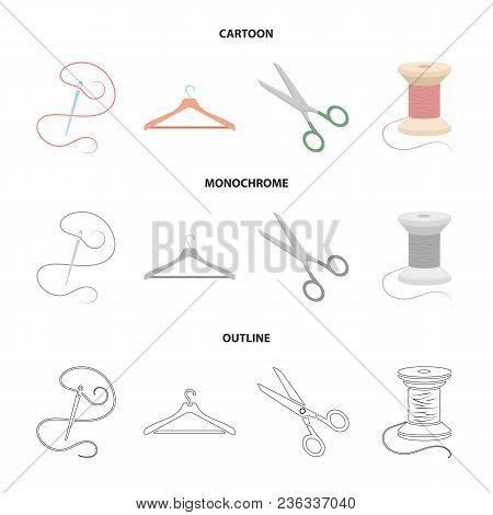 Thread, Reel, Hanger, Needle, Scissors.atelier Set Collection Icons In Cartoon, Outline, Monochrome