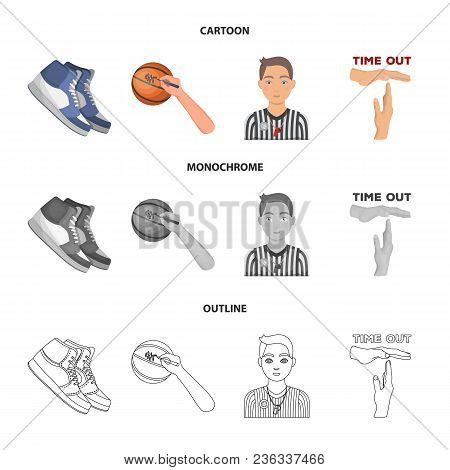 Basketball And Attributes Cartoon, Outline, Monochrome Icons In Set Collection For Design.basketball