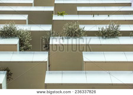 Milan, Italy - June 9, 2015: Skyscraper Vertical Forest With Trees Growing On Balconies, Built For E