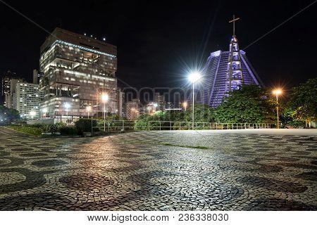 Rio De Janeiro, Brazil - April 12, 2018: Petrobras Building And Metropolitan Cathedral View At Night