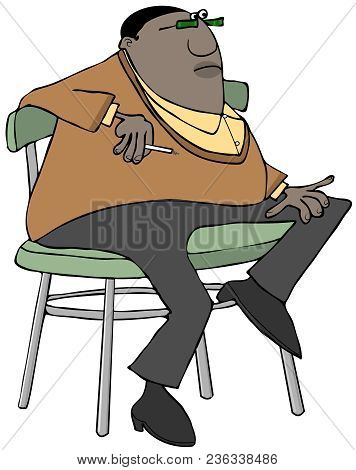 Illustration Of A Chubby Black Man Sitting On A Stool While Smoking A Cigarette.