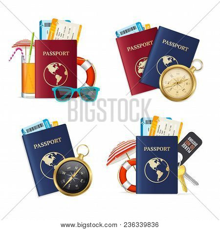 Realistic Detailed 3d Travelling Set Include Of Passport, Compass, Ticket, Sunglasses, Cocktail Drin