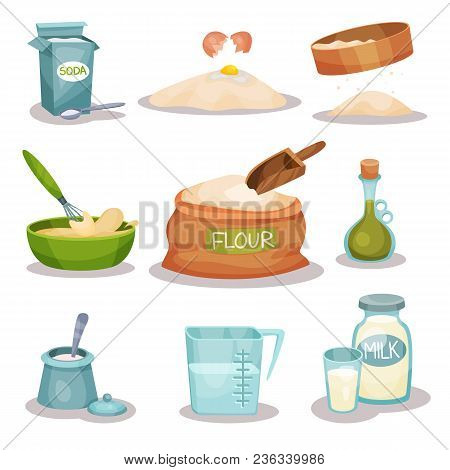 Bakery Ingridients Set, Kitchen Utensils And Products For Baking And Cooking Vector Illustrations Is