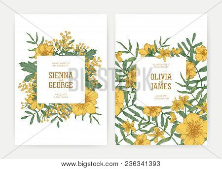 Bundle Of Wedding Party Celebration Invitation Templates With Yellow Blooming Tansy And Buttercup Fl