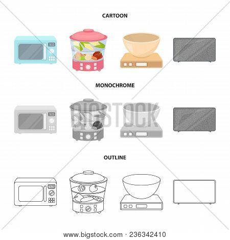Steamer, Microwave Oven, Scales, Lcd Tv.household Set Collection Icons In Cartoon, Outline, Monochro