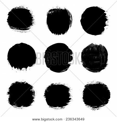 Grunge Vector Stamps, Round Spots, Grunge Design Elements, Circle Paint Brush Splash Spots, Black Ha