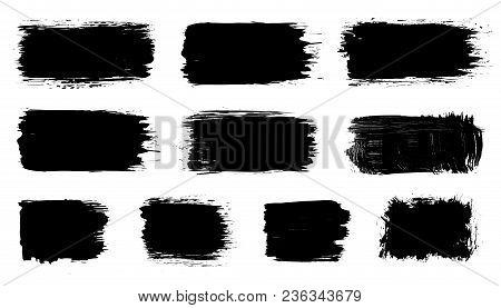 Vector Black Paint, Ink Brush Stroke, Dry Grunge Brush Smear, Line Or Texture. Dirty Artistic Design