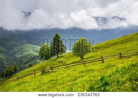 Landscape Of A Mountain Hill At Daytime. Mountain Landscape In Summer With Cumulus Clouds. Mountain