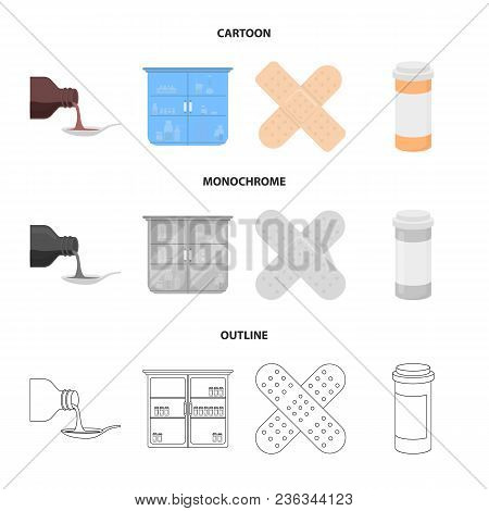 Syrup In A Spoon, Plaster, Honey, Medical Cabinet.medicine Set Collection Icons In Cartoon, Outline,