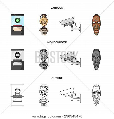 A Diamond, A Vase On A Stand, A Surveillance Camera, An African Mask. Museum Set Collection Icons In