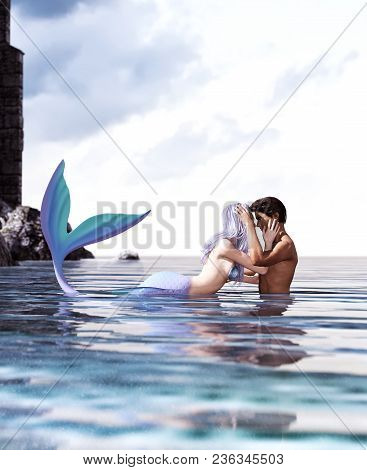 A Sea Love Story Between Man And A Mermaid,3d Fantasy Mermaid In Mythical Sea,fantasy Fairy Tale Of