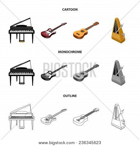 Musical Instrument Cartoon, Outline, Monochrome Icons In Set Collection For Design. String And Wind