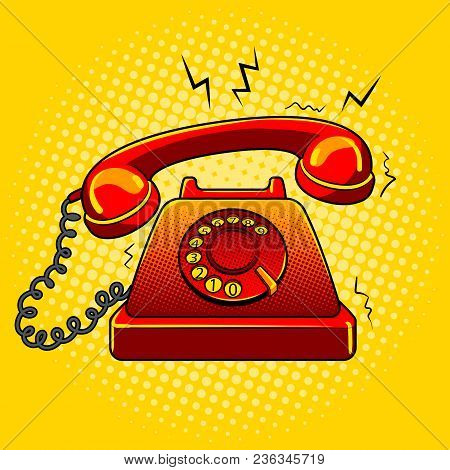 Red Hot Old Fashioned Phone Metaphor Pop Art Retro Vector Illustration. Color Background. Color Back