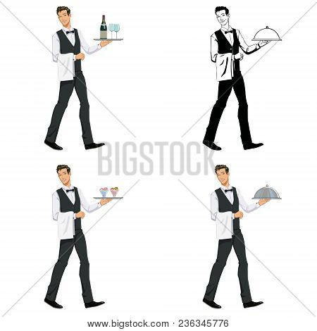 Waiter With A Tray. Set Of Four Illustrations
