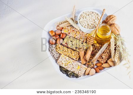 lots of muesli bar with oatmeal and honey - food and drink