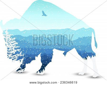 Silhouette Of Bizon With Mountains  Landscape And Coniferous Trees. Blue Shades. Winter. Cold. Snowi