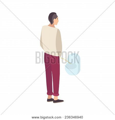 Young Guy Standing And Peeing Into Urinal Isolated On White Background. Male Flat Cartoon Character