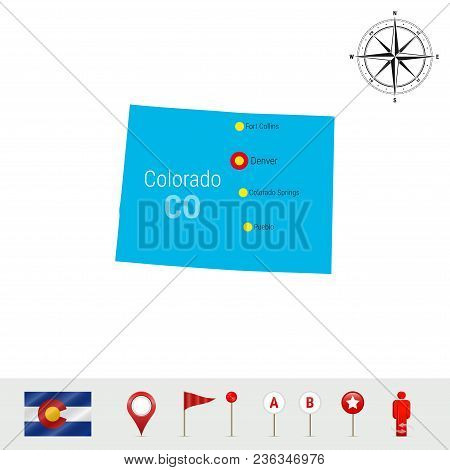 Colorado Vector Map Isolated On White Background. Silhouette Of Colorado State. Vector Flag Of Color