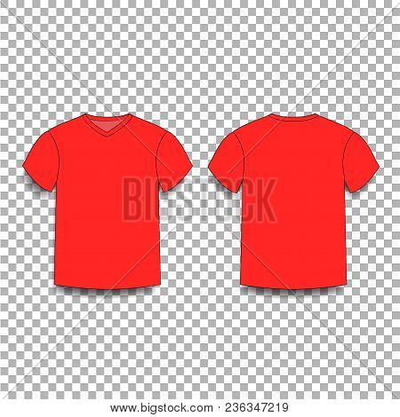 Red Men's T-shirt Template V-neck Front And Back Side Views.