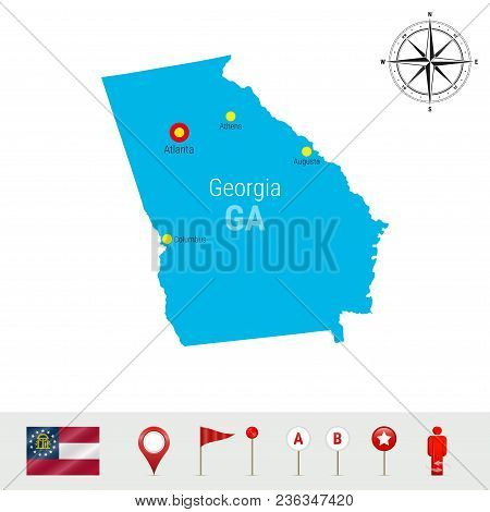Georgia Vector Map Isolated On White Background. High Detailed Silhouette Of Georgia State. Vector F