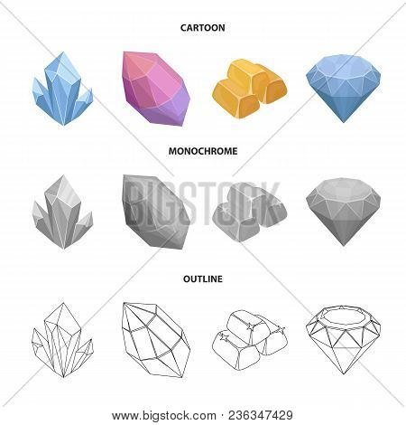 Crystals, Minerals, Gold Bars. Precious Minerals And Jeweler Set Collection Icons In Cartoon, Outlin
