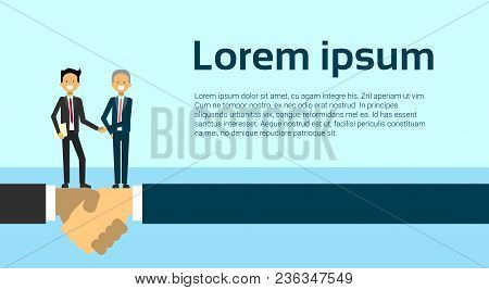 Handshake Two Business Men Shaking Hands Agreement And Partnership Concept Flat Vector Illustration