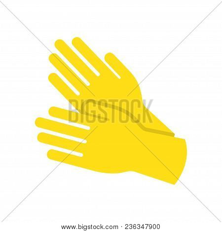 Yellow Glove For Hygiene Cleaning And Yellow Rubber Glove Wash Work Protection. Rubber Yellow Gloves