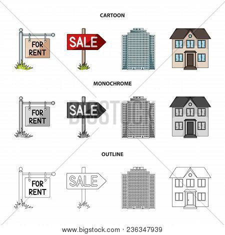 Signs Of Sale And Rent, A Skyscraper, A Two-story Cottage.realtor Set Collection Icons In Cartoon, O