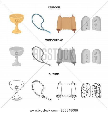A Cup Of Wine, Islamic Beads, Ten Commandments, Tanakh. Religion Set Collection Icons In Cartoon, Ou
