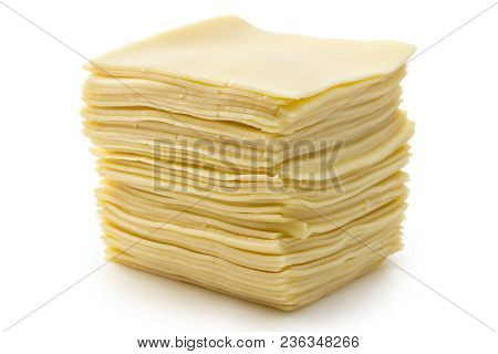 Sliced Fresh Edam Cheese On White Background, Cow Cheese
