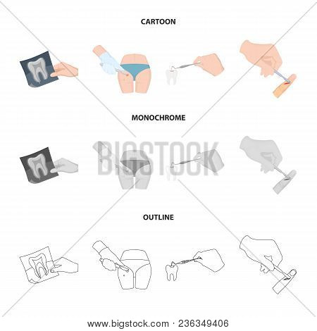 Tooth, X-ray, Instrument, Dentist And Other  Icon In Cartoon, Outline, Monochrome Style. Surgeon, Ab