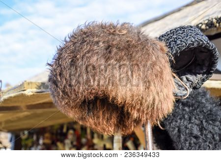 Cossack Hat Made Of Sheep's Wool On The Market. Mouton Sheep's Wool.