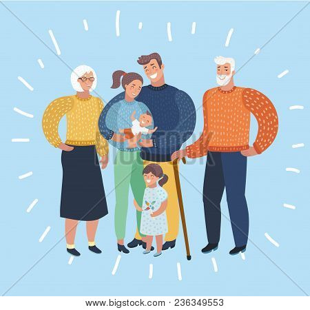 Vector Cartoon Illustration Of Big Family Portrait. Grandfather, Grandmother, Mother, Son, Daughter,