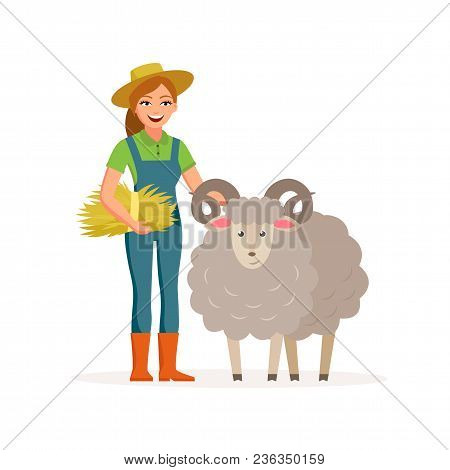 Farmer - Woman With A Sheep Smiling With Hay. Farming Concept Vector Illustration In Flat Design. Ha