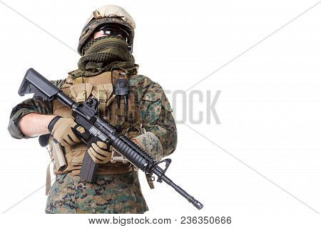 Studio Shot Of United States Marine With Rifle Weapons In Uniforms. Proudly Looking, Low Angle Shot.