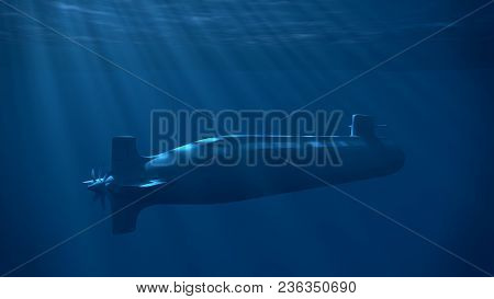 Nuclear Submarine Under The Wave With Sun Rays. Underwater Blue Light. 3d Render Illustration.
