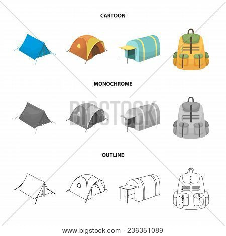 Backpack And Other Kinds Of Tents.tent Set Collection Icons In Cartoon, Outline, Monochrome Style Ve