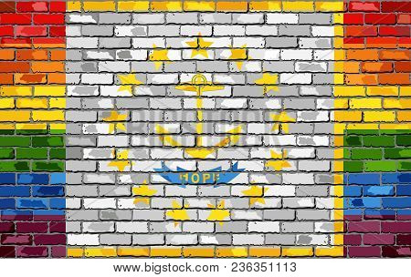 Brick Wall Rhode Island And Gay Flags - Illustration, Rainbow Flag On Brick Textured Background,  Ab